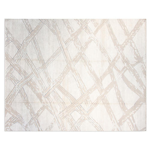 9'x12' Simone Hand-Knotted Rug, Silver