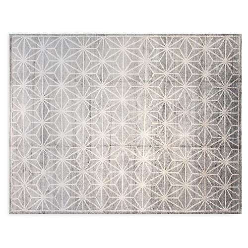 9'x12' Alyssa Hand-Knotted Rug, Silver
