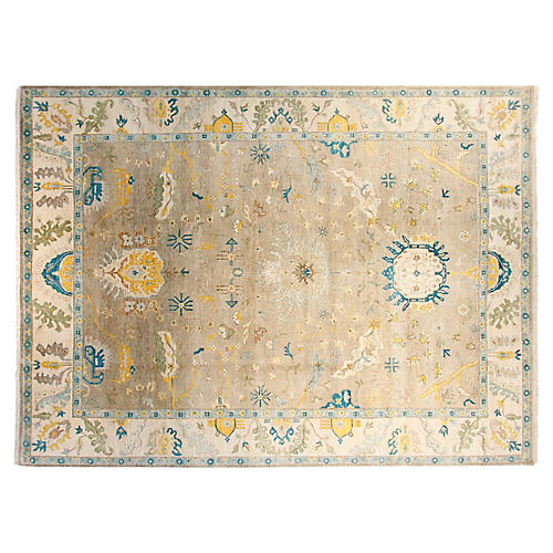 9'x12' Sari Oushak Hand-Knotted Rug, Fawn/Ivory