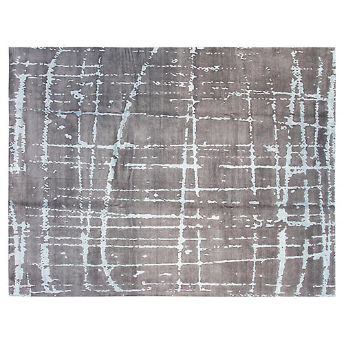 9'x12' Brielle Hand-Knotted Rug, Gray/Aqua
