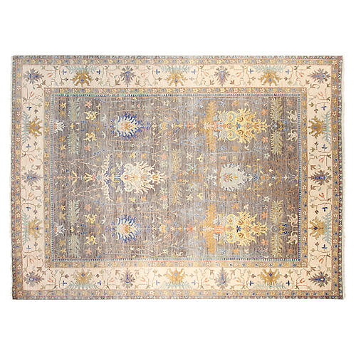 9'x12' Sari Michelle Hand-Knotted Rug, Gray/Tan