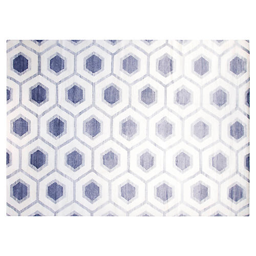 10'x14' Edition Hand-Knotted Rug, Ivory/Blue