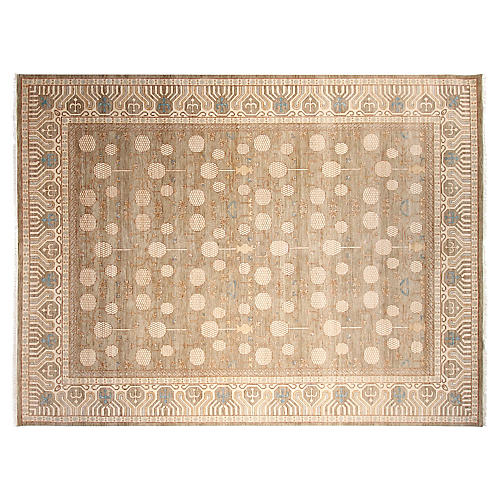 9'x12' Khotan Hand-Knotted Rug, Fawn/Ivory