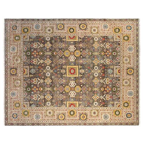 8'x10' Mason Hand-Knotted Rug, Gray/Ivory