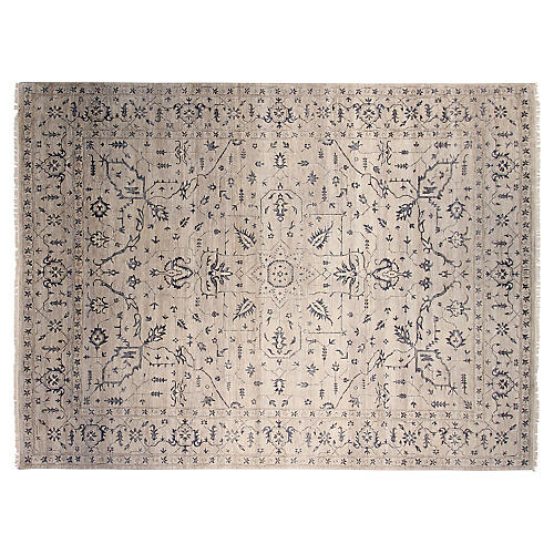 9'x12' Agra Hand-Knotted Rug, Gray/Ivory