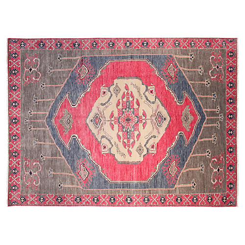 9'x12' Baxter Hand-Knotted Rug, Rose/Multi