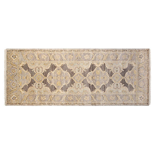 4'x10' Oushak Hand-Knotted Runner, Gray