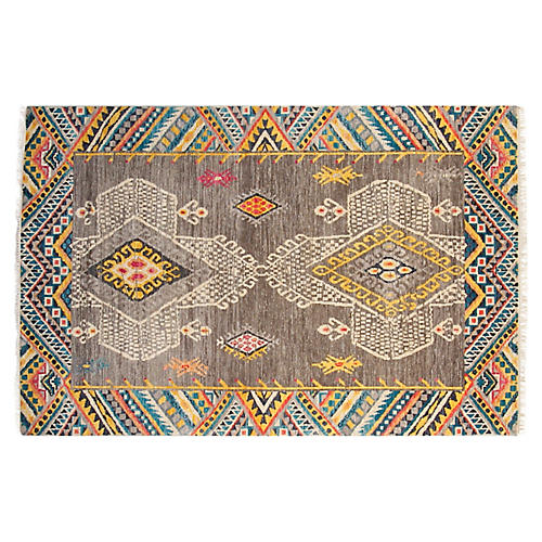 4'x6' Adventure Hand-Knotted Rug, Gray