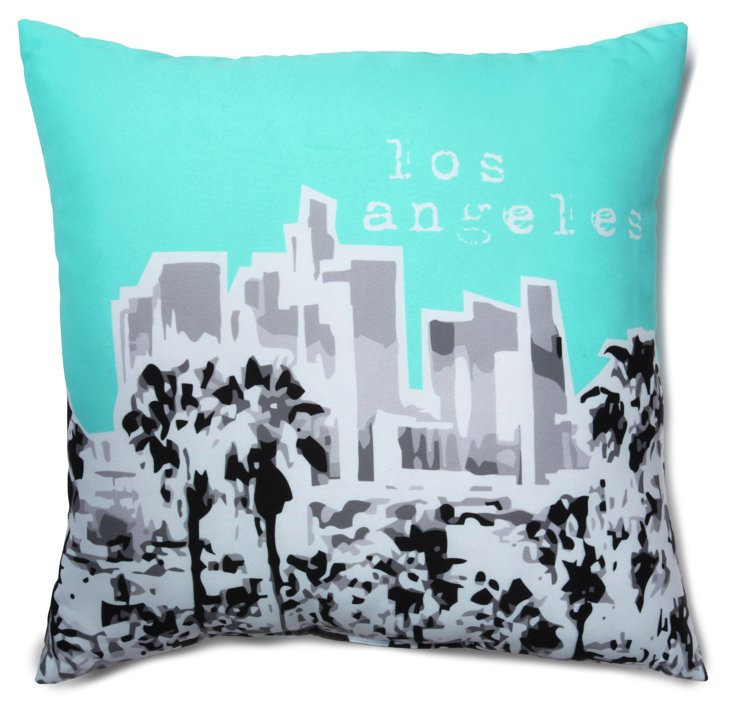 Los Angeles 20x20 Pillow, Aqua