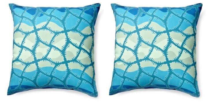 S/2 Grace 20x20 Outdoor Pillows, Cool
