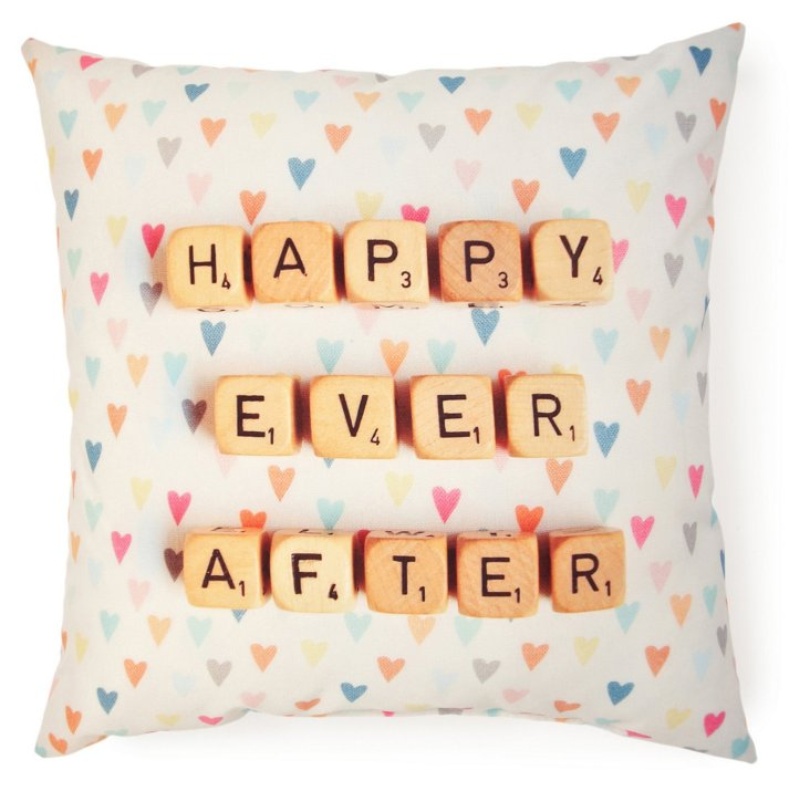 """Happy Ever After"" 20x20 Pillow, Multi"
