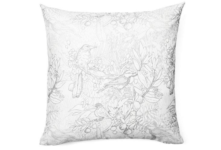 Birds 20x20 Pillow, Gray