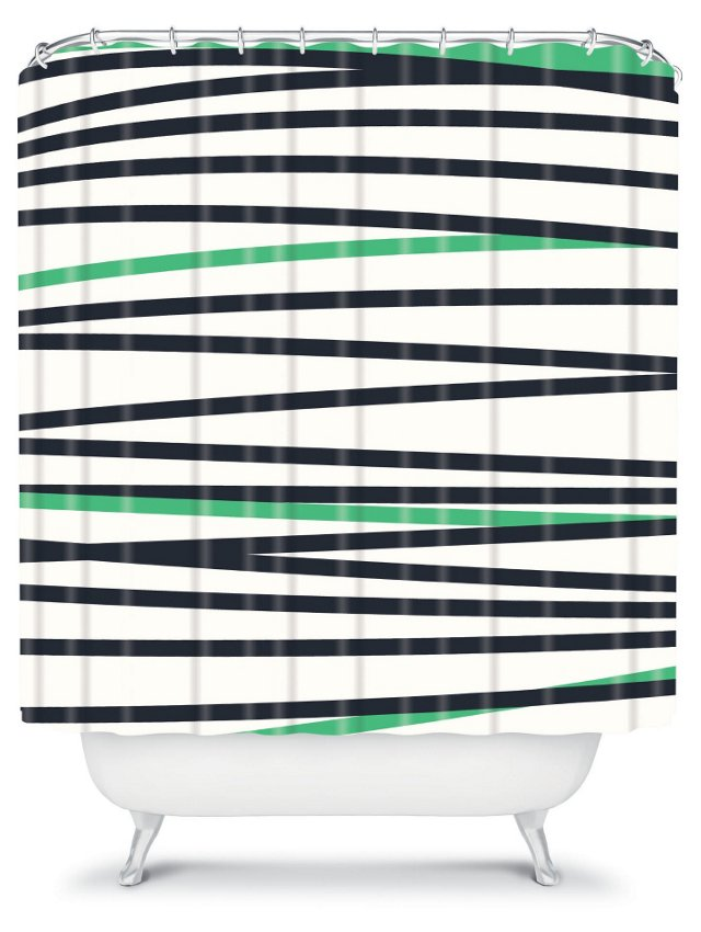 Striped Cool Shower Curtain, Green