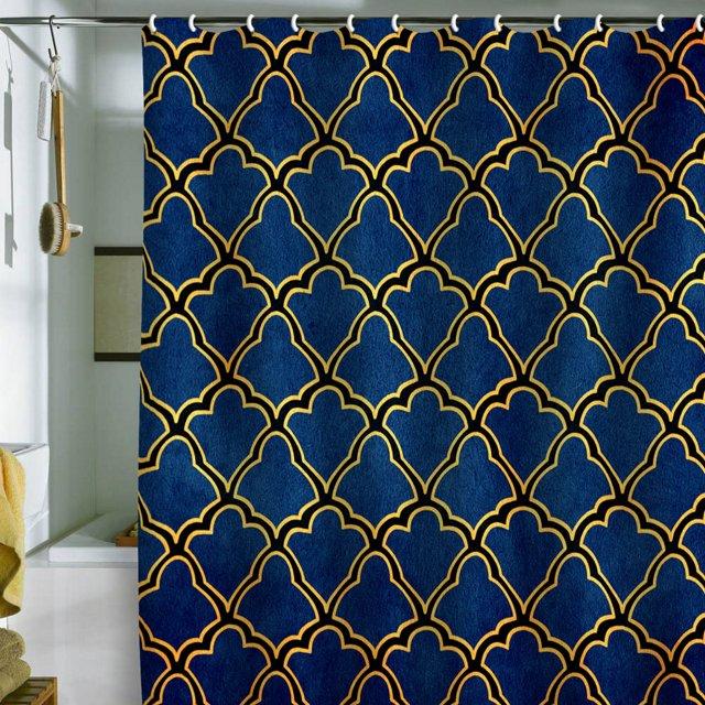 Arcturus Quatrefoil Shower Curtain, Navy