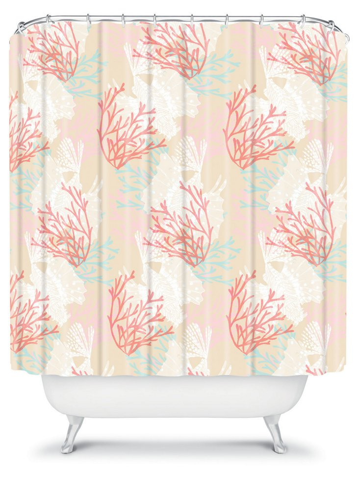 Tiger Fish Shower Curtain, Pink