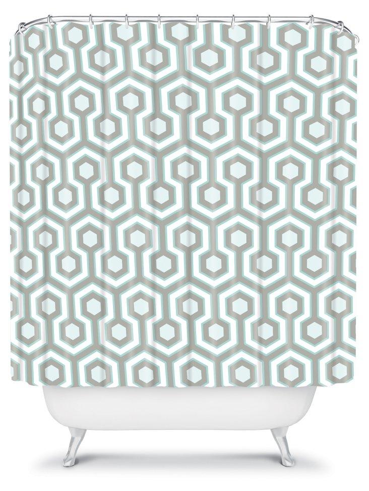 Icicle Shower Curtain, Aqua/Gray