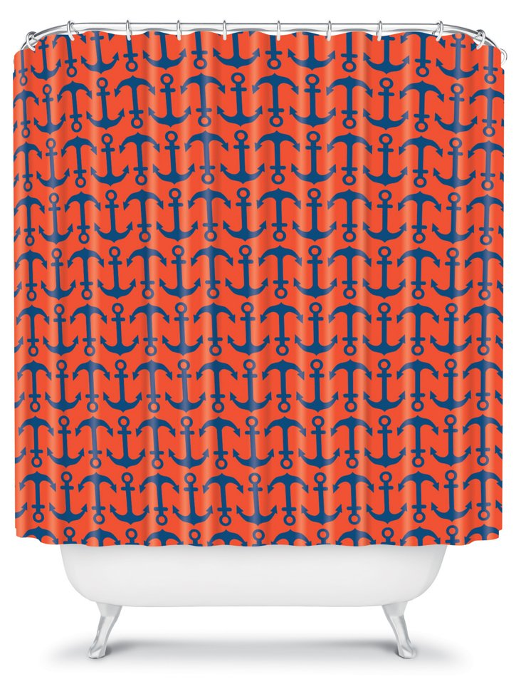 Ahoy Anchors Shower Curtain, Red