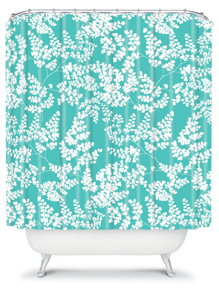 Spring 2 Shower Curtain, Aqua