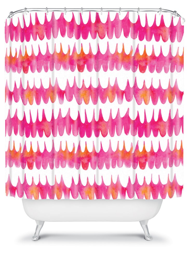 Owl Feather Shower Curtain, Pink
