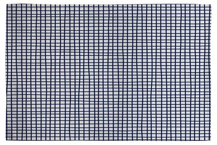 Cross Lines Woven Rug, Navy