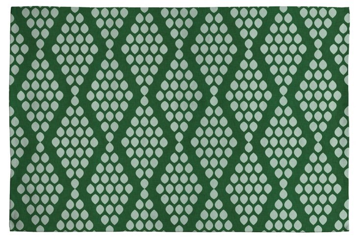 Beaded Triangle Woven Rug, Green