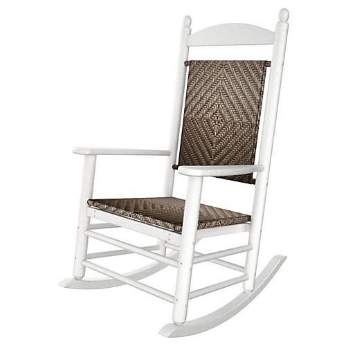 Jefferson Woven Rocker, White/Cahaba