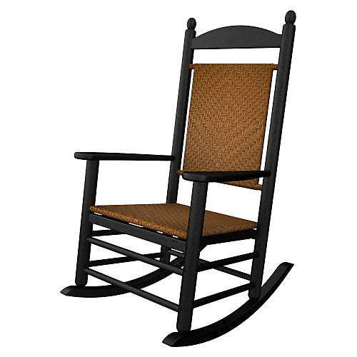 Jefferson Woven Rocker, Black/Tigerwood