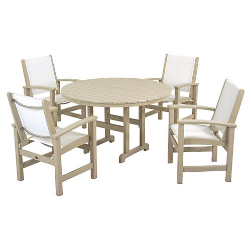 Coastal 5-Pc Dining Set, Sand