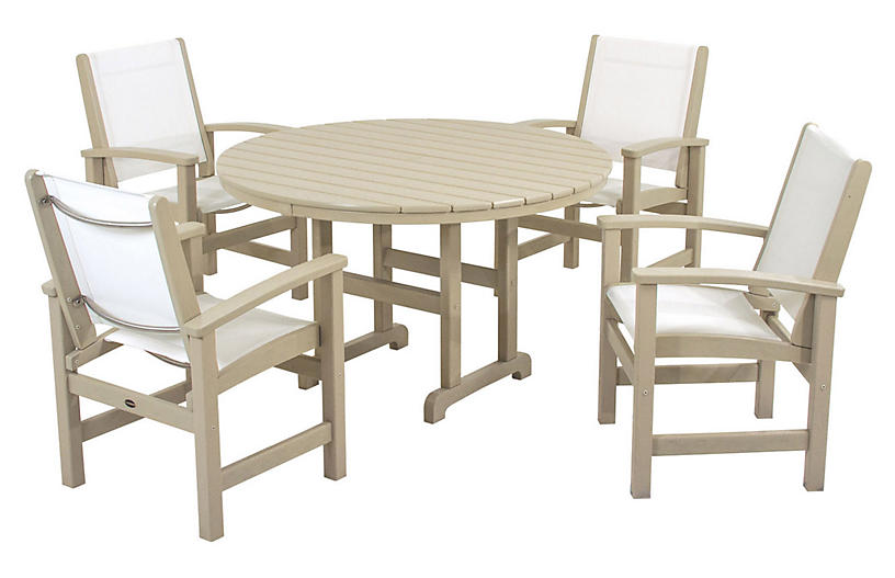 Coastal 5-Pc Dining Set, Sand