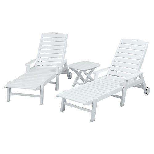 Nautical 3-Pc Chaise Set, White