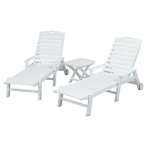 Nautical 3-Pc Chaise Set, White
