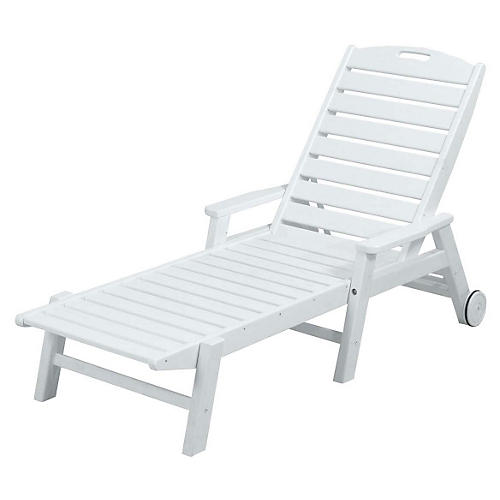 Nautical w/ Arms Wheeled Chaise, White