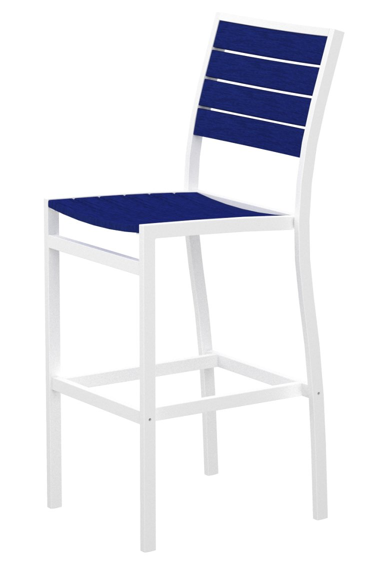 San Mateo Bar Chair, White/Cobalt