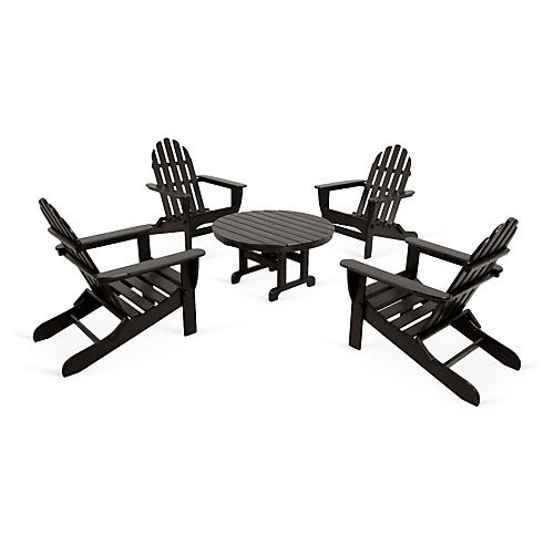 Ivy Terrace 5-Pc Adirondack Set, Black