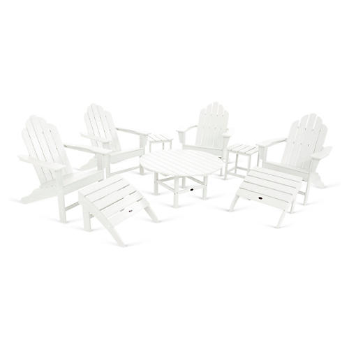 Long Island 9-Pc Large Adirondack Set, White