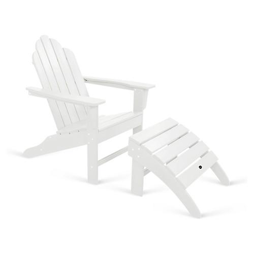 Long Island 2-Pc Adirondack Chair & Ottoman, White