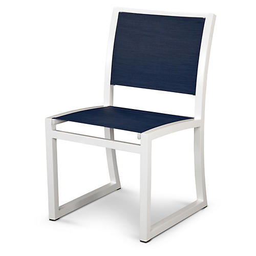 Trex Cube Side Chair, Navy/White