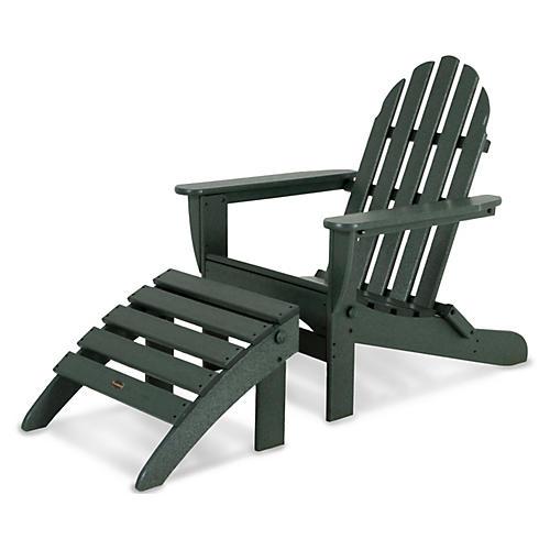 Asst. of 2 Don Adirondack Chair & Ottoman, Green