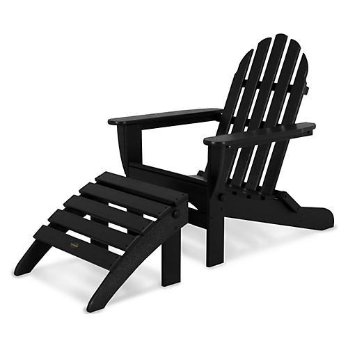 Asst. of 2 Don Adirondack Chair & Ottoman, Black