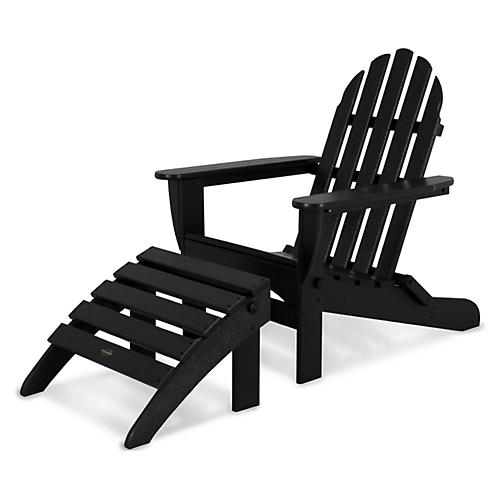 Asst. of 2 Don Adirondack Chair & Ottoman, Black