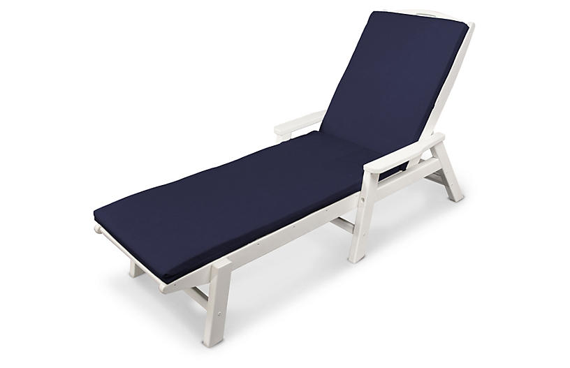 Nautical w/ Arms Chaise, Navy