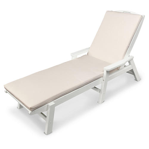 Nautical w/ Arms Chaise, White