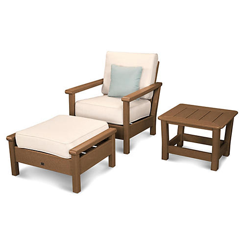 Harbour 3-Pc Outdoor Set, Beige/Teak