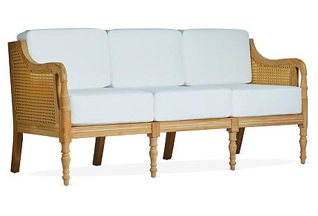Calista Teak Sofa, Ivory