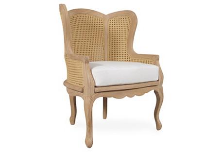 Calista Teak Wingback Chair, Ivory