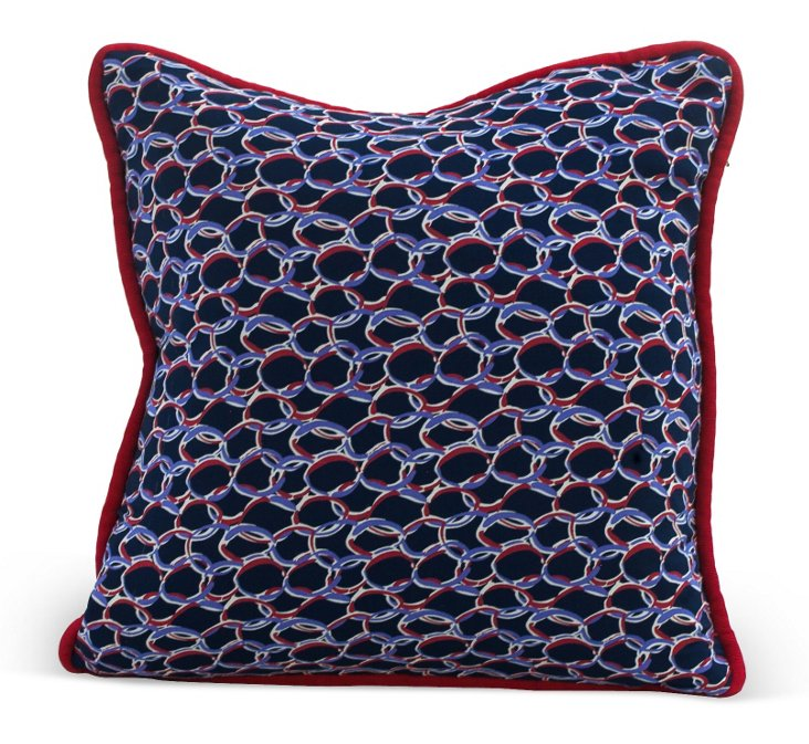 Blue & Red Chain Link Pillow