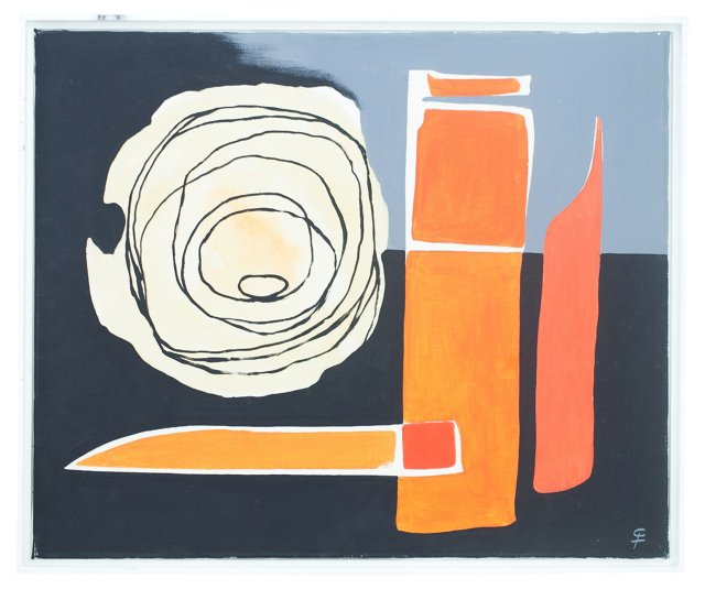 Abstract Painting in Black & Orange