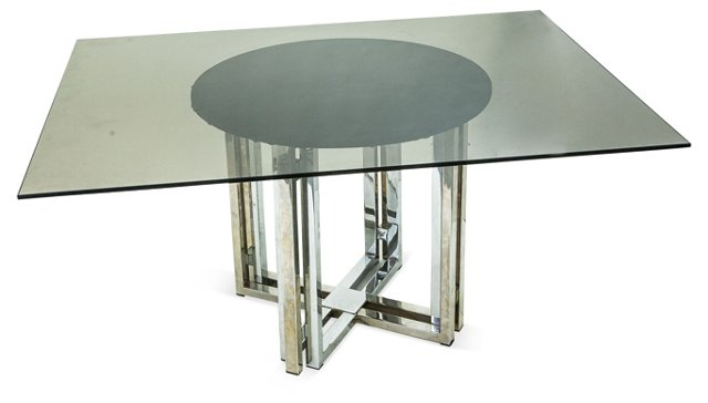 Brass & Chrome Dining Table