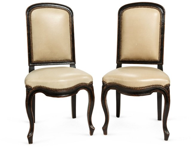 Louis XV-Style Side Chairs, Pair