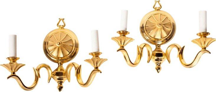 American Bronze Sconces, Pair